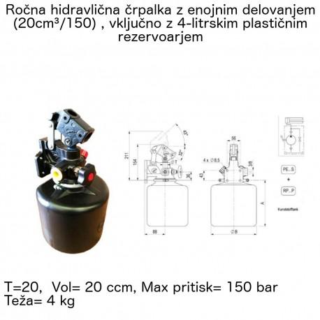 Ročna hidravlična črpalka z enojnim delovanjem in rezervoarjem