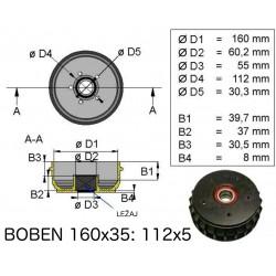 Zavorni boben z ležajem,160x 35 112x5