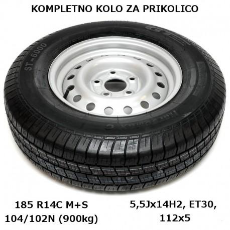 Kompletno kolo 112x5 185 R14C za 900/850kg KargoMax