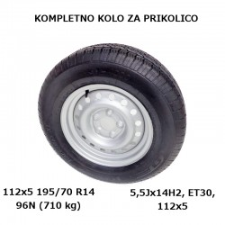 Kompletno kolo 112x5 195/70 R14 96N za 710kg KargoMax