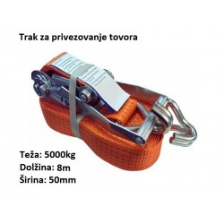 Trak za privezovanje tovora z napenjalcem in kavljem 5000kg, 8m