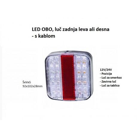 LED Obo, luč zadnja leva ali desna s kablom, 102x92x28mm (12-24V)
