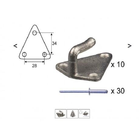 Kavelj za mrežo z zakovicami (10kos) - lita izvedba