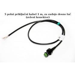 Priključni kabel 5-polni desni dolžine 1m, Aspock (zeleni)