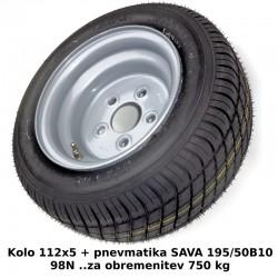 Kompletno kolo 112x5 195/50 B10 Sava 98N (750 kg)